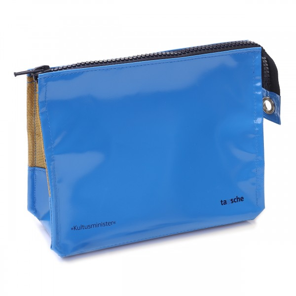 Washbag »Kultusminister« made of blue tarpaulin with golden ventilation fabric