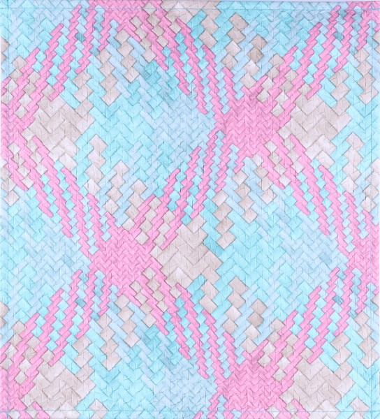 Exchangeable Lid for Bag - Coloured Criss Cross - blue/pink - Size M