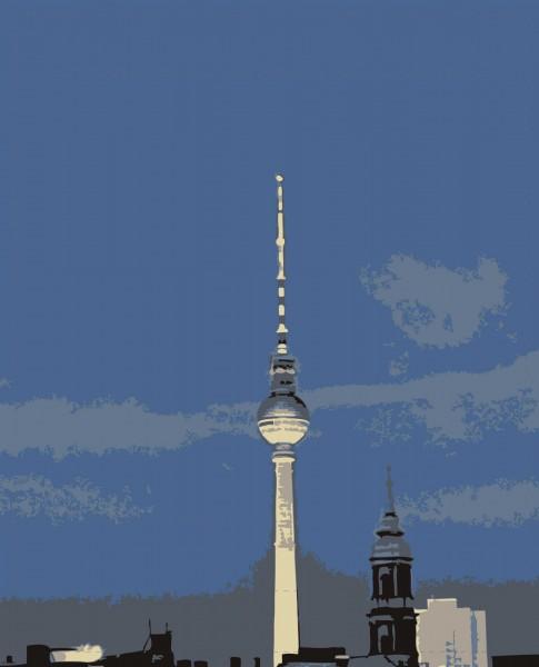 Wechselklappe für Umhängetasche - Fernsehturm bei Nacht - blau - Größe L