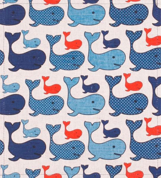 Wechseldeckel für Tasche - Wal - beige/blau - Größe M