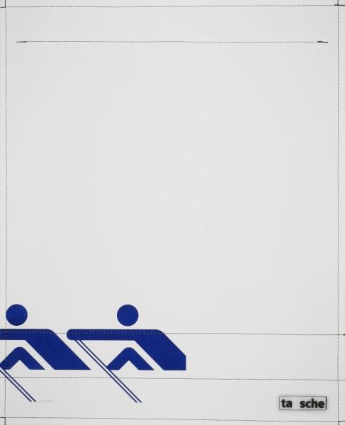 Wechseldeckel für Schultertasche - Ruderer - weiß/blau - Größe L