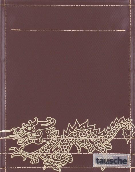 Wechselklappe für Tasche/Rucksack - Drachen - braun/gold - Größe S