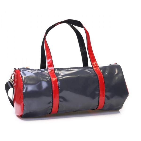 Sports bag made of anthracite and red truck tarpaulin