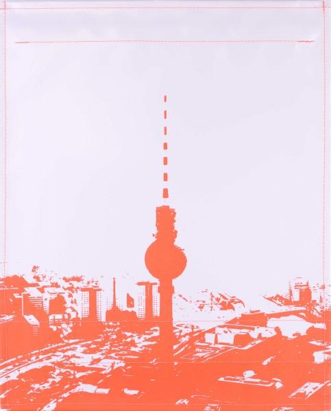 Wechseldeckel für Tasche - Skyline Berlin - hellgrau/orange - Größe L