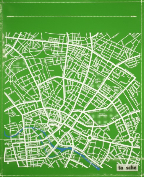 exchangeable flap for shoulder bag - city map Berlin - green - size L
