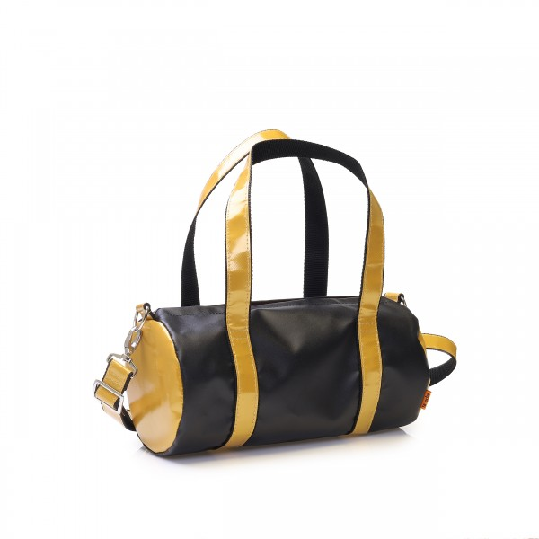 sporty handbag with handles and removable shoulder strap made of gold/black tarpaulin