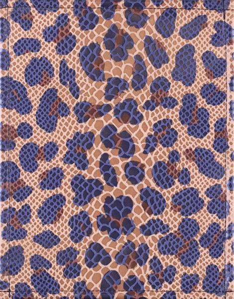 Wechseldeckel für Tasche - Schlangen-Leo - beige/blau - Größe S