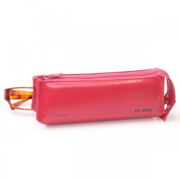 Raspberry coloured spectacle case from truck tarpaulin