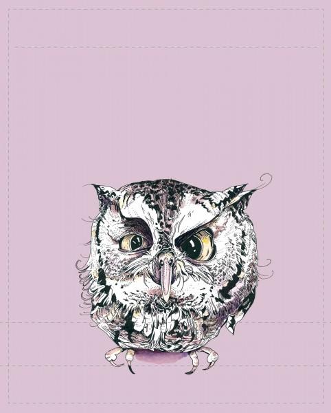 Exchangeable flap for shoulder bag - Owl - pink - size L