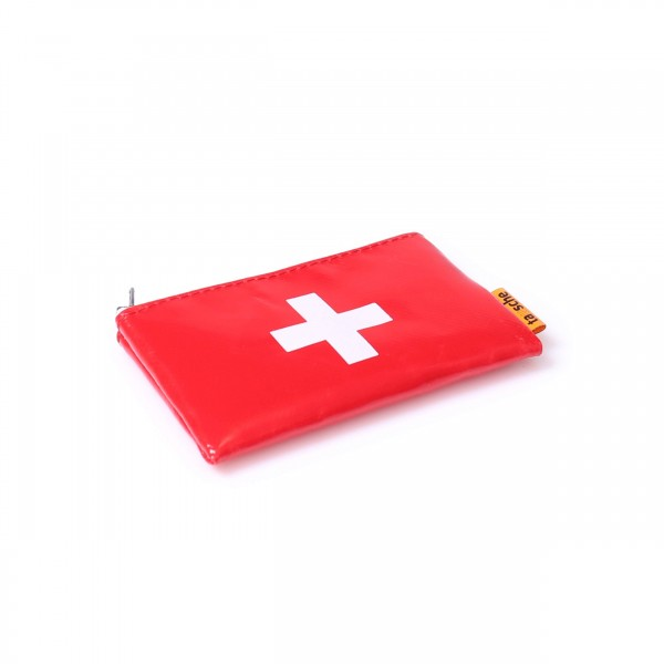 credit card cover - truck tarpaulin - cross - red - 1