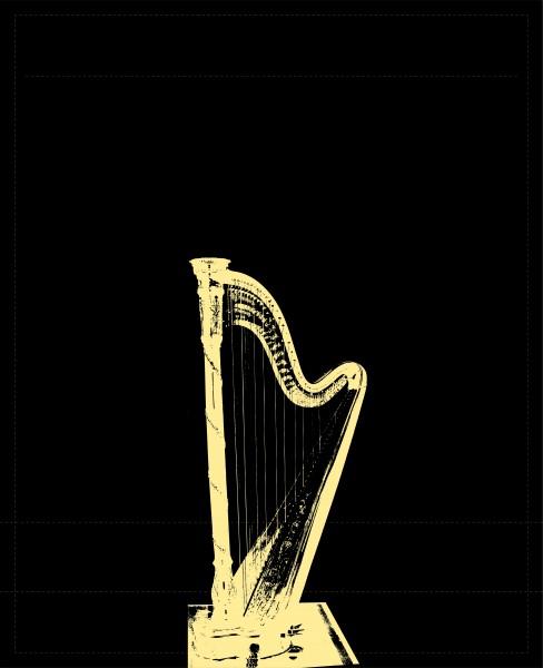 Interchangeable lid for shoulder bag - harp - black/gold - size L