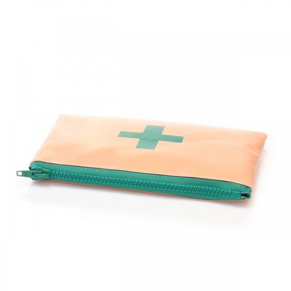 Salmon tarpaulin bag with green screen printing - life saver