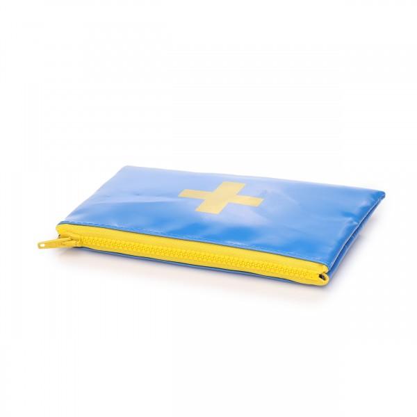 Täschchen Lebensretter in blau mit gelbem Druck