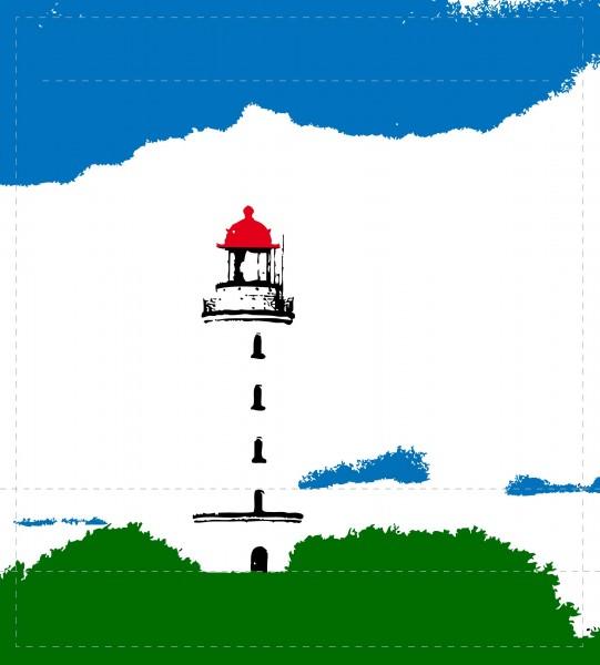 Wechseldeckel für Schultertasche - Leuchtturm Hiddensee - weiß/grün/blau - Größe M