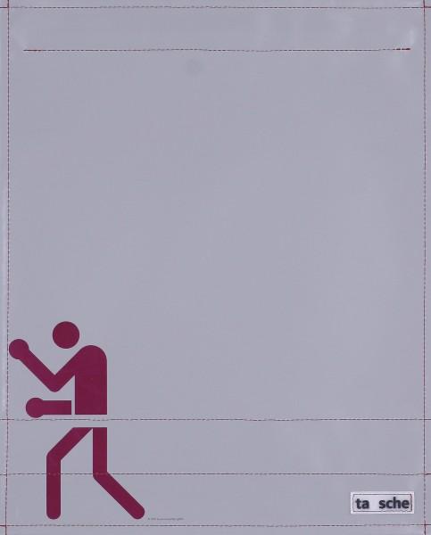 Wechselklappe für Umhängetasche - Boxer - grau/rot - Größe L